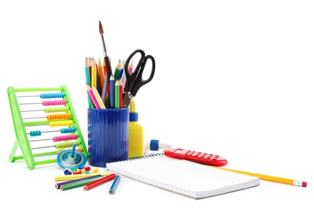 Office and student accessories on a white. Back to school concept. Stock Photo - 17943882
