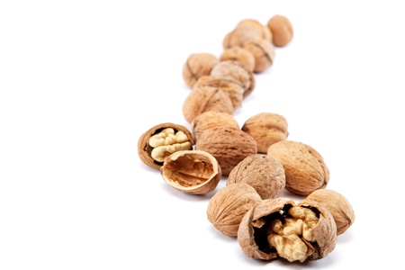 Walnuts on a white background. Stock Photo