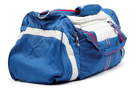 Blue sports bag isolated on a white background.