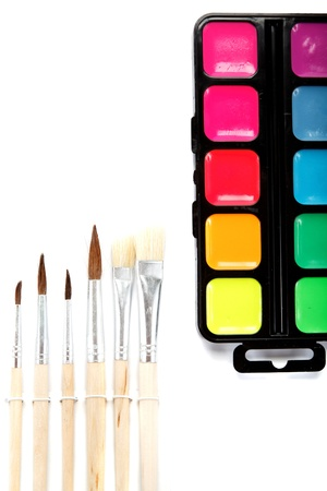 Brushes and paints isolated on a white background. Stock Photo - 17943973