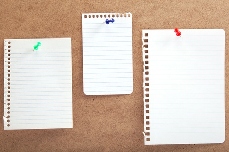 Blank notes with buttons on a wooden board Stock Photo - 18243679
