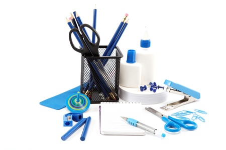 Office and school accessories isolated on a white background. photo