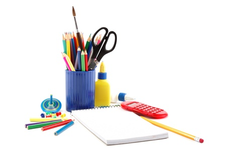 Office and school accessories on a white. photo