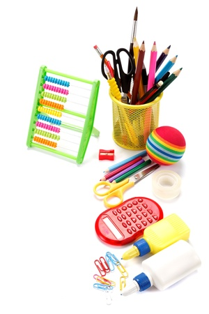 School and office supplies on white background. Back to school. Stock Photo - 19127006
