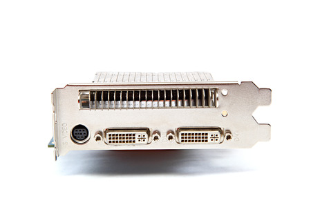 outputs: Video graphic card with three outputs on a white background Stock Photo