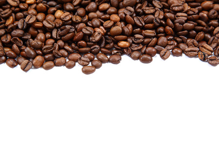 large bean: Coffee beans isolated on white background. Stock Photo