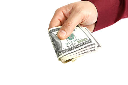 Banknotes in hand isolated on a white background. photo