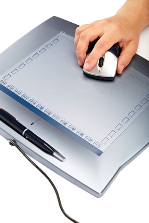 graphic tablet: Graphic tablet with mouse and pen isolated on a white background.