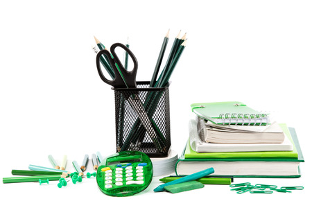 case: Office and school accessories isolated on a white background. Back to school. Stock Photo