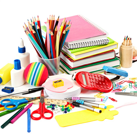 School and office supplies on white background. Back to school. Stock fotó - 31061009