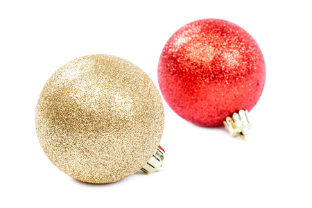 group of christmas baubles: Christmas balls isolated on a white background. Stock Photo
