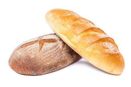 Bread isolated on white background. Wheat and rye. photo