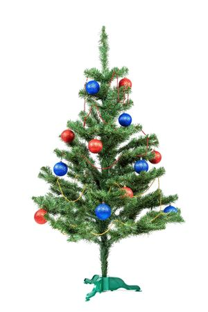 Christmas tree decorated red and blue balls isolated on white background.