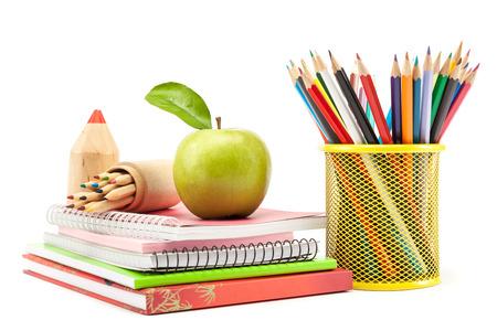 在白色背景,回學校上學和辦公用品 版權商用圖片