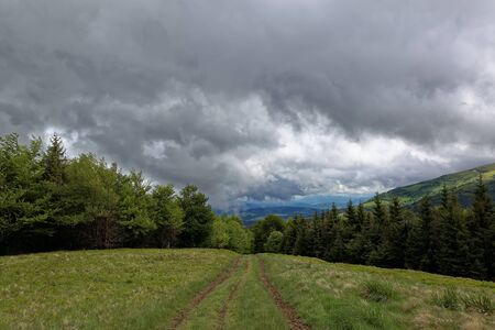 green meadows: Way to from mountain top with green meadows in the rain clouds. Landscape.
