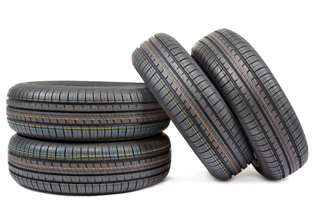 Car tires isolated on white background. photo