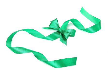 green ribbon: Holiday green ribbon isolated on white background. Stock Photo
