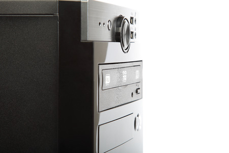 computer case: Black computer case isolated on a white background.