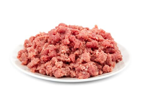 Minced meat isolated on a white background.