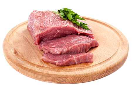 cut and blood: Meat on a cutting board isolated on white background.