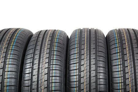 radial tire: Car tires isolated on white background.