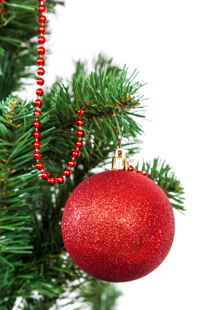 balls decorated: Christmas tree decorated red balls. Stock Photo