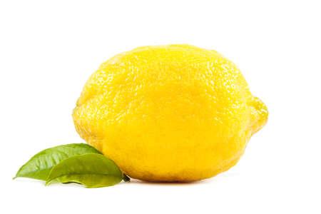 limón: frutos de lim�n fresco con hojas verdes aisladas sobre fondo blanco. Foto de archivo