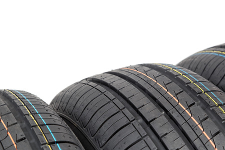 tire tread: Car tires isolated on white background.