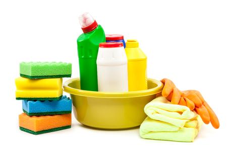 productos quimicos: Limpieza aislado en el fondo blanco.