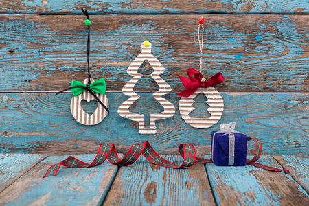 Christmas Decorations With Fir Tree Balls And Gifts On Wooden