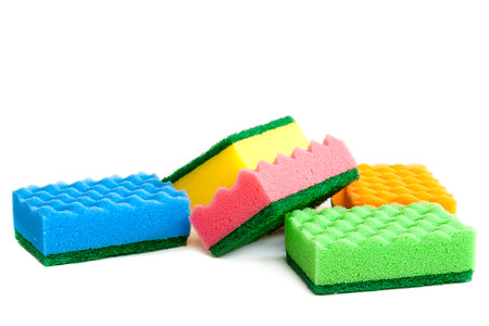 bright housekeeping: Sponge isolated on white background.