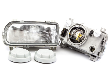spare car: Car lights isolated on white background.