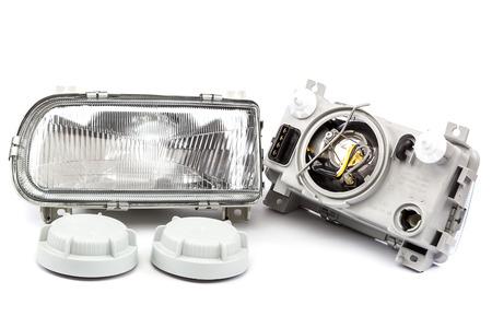 lens unit: Car lights isolated on white background.