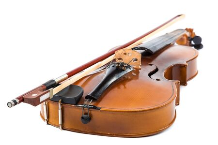 fiddlestick: Violin and bow isolated on a white background.