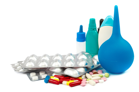 Pills in blister packs isolated on white background. Stock Photo
