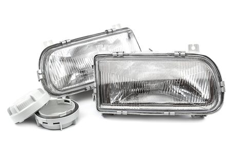 lens unit: Car lights isolated on a white background.
