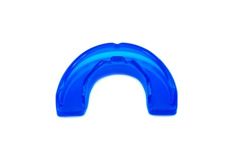 Blue mouthguard isolated on white background.
