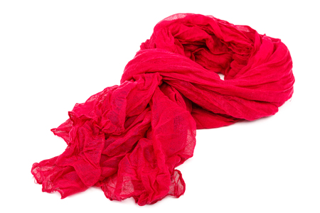 Red womens scarf or shawl isolated on white background. Stock Photo