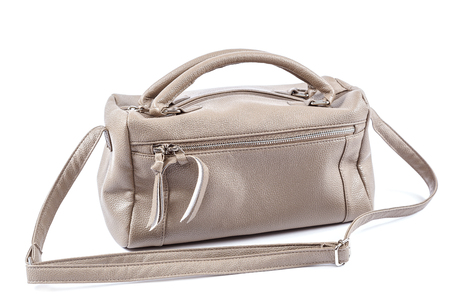 woman handle success: Female handbag isolated on a white background.