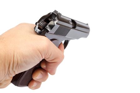 흰색 배경에 고립 손에 총.