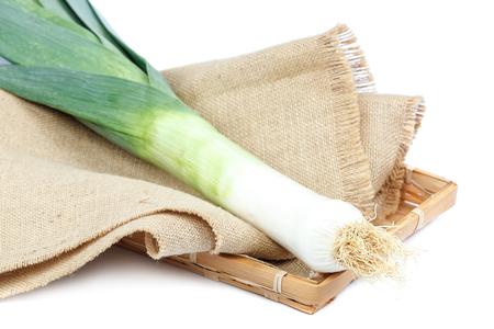 Fresh leek onion isolated on white background. Stock Photo