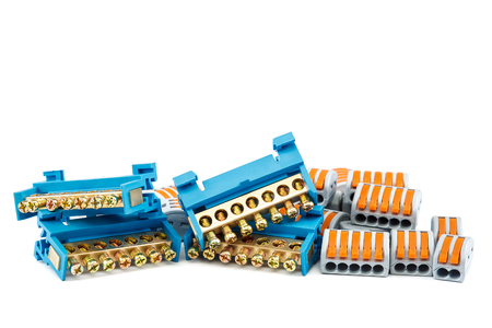 Electrical terminal blocks isolated on white background.