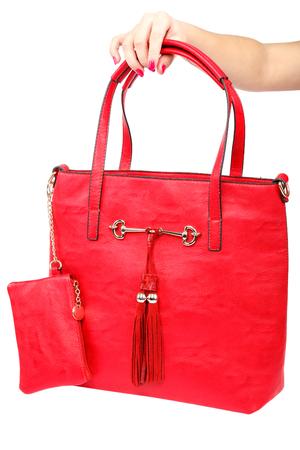 Modische Frauentasche in der Hand lokalisiert auf weißem Hintergrund.