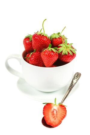 Fresh strawberries in a bowl isolated on white background.