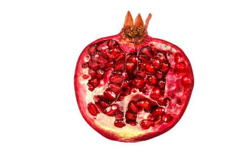 Pomegranate fruit isolated on the white background.