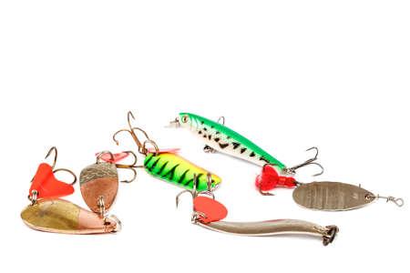 Fishing lure with hooks isolated on white background.