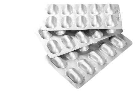 Pills in blister packs isolated on white background. Foto de archivo