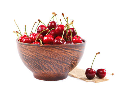 Fresh sweet cherry fruits isolated on a white background.