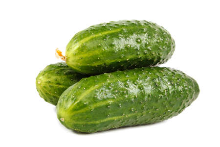 Fresh cucumbers isolated on a white background.
