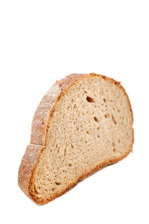 Rye and wheat bread loaf isolated on white background.